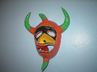 orange and green mask